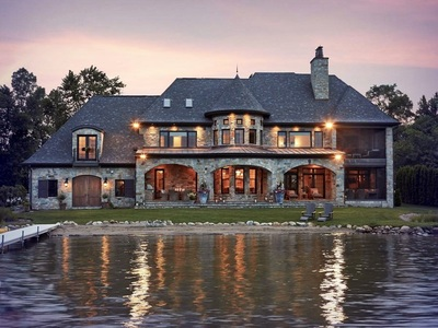 French Country Lake Custom Home Design Vanbrouck